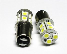 Led auto Rosu BAY15D 13 SMD cu dubla intensitate si pini simetrici decalati