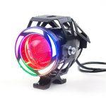 Proiector LED motocicleta, atv, cu 2 faze (faza scurta si faza lunga), functie de stroboscop, angel eyes COB si devil eyes rosu, putere 10W, luminozitate 1000 lumeni