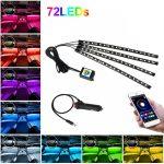 Kit 4 Lumini Ambientale RGB cu Aplicatie Telefon Bluetooth, 12V, 18 LED, 32 cm LAL-18