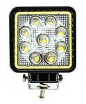 Proiector LED Auto Offroad Cu Angel Eyes 27W/12V-24V, 1980 Lumeni, Patrat, Spot Beam 30 Grade