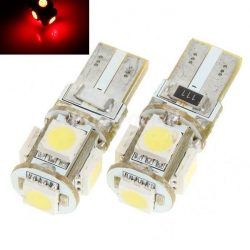 Led auto ROSU T10 5 SMD Canbus